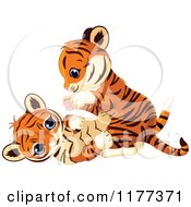Cartoon Of Cute Tiger Cubs Playing Royalty Free Vector Clipart by Pushkin