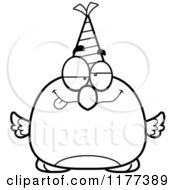 Cartoon Of A Black And White Drunk Birthday Bird Wearing A Party Hat Royalty Free Vector Clipart