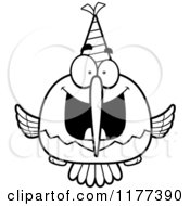 Cartoon Of A Black And White Happy Birthday Hummingbird Wearing A Party Hat Royalty Free Vector Clipart
