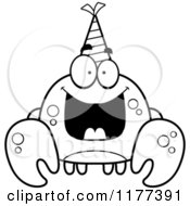 Cartoon Of A Black And White Happy Birthday Crab Wearing A Party Hat Royalty Free Vector Clipart