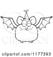 Cartoon Of A Black And White Drunk Birthday Bat Wearing A Party Hat Royalty Free Vector Clipart