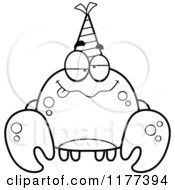 Cartoon Of A Black And White Drunk Birthday Crab Wearing A Party Hat Royalty Free Vector Clipart