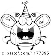 Cartoon Of A Black And White Happy Birthday Fly Wearing A Party Hat Royalty Free Vector Clipart