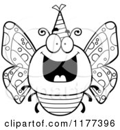 Cartoon Of A Black And White Happy Birthday Butterfly Wearing A Party Hat Royalty Free Vector Clipart