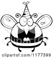 Cartoon Of A Black And White Happy Birthday Bee Wearing A Party Hat Royalty Free Vector Clipart