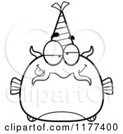 Cartoon Of A Black And White Drunk Birthday Catfish Wearing A Party Hat Royalty Free Vector Clipart