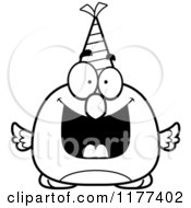 Cartoon Of A Black And White Happy Birthday Bird Wearing A Party Hat Royalty Free Vector Clipart