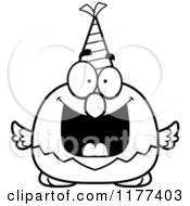 Cartoon Of A Black And White Happy Birthday Bald Eagle Wearing A Party Hat Royalty Free Vector Clipart