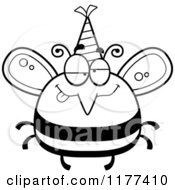 Cartoon Of A Black And White Drunk Birthday Bee Wearing A Party Hat Royalty Free Vector Clipart