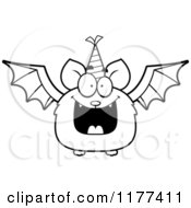 Cartoon Of A Black And White Happy Birthday Bat Wearing A Party Hat Royalty Free Vector Clipart