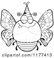 Cartoon Of A Black And White Drunk Birthday Butterfly Wearing A Party Hat Royalty Free Vector Clipart