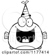 Cartoon Of A Black And White Happy Birthday Fish Wearing A Party Hat Royalty Free Vector Clipart