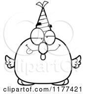 Cartoon Of A Black And White Drunk Birthday Chick Wearing A Party Hat Royalty Free Vector Clipart