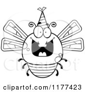 Cartoon Of A Black And White Happy Birthday Dragonfly Wearing A Party Hat Royalty Free Vector Clipart