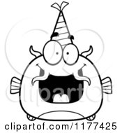 Cartoon Of A Black And White Happy Birthday Catfish Wearing A Party Hat Royalty Free Vector Clipart