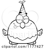 Cartoon Of A Black And White Drunk Birthday Bald Eagle Wearing A Party Hat Royalty Free Vector Clipart
