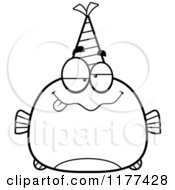 Cartoon Of A Black And White Drunk Birthday Fish Wearing A Party Hat Royalty Free Vector Clipart