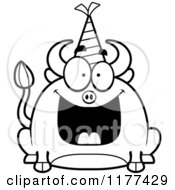 Cartoon Of A Black And White Happy Birthday Bull Wearing A Party Hat Royalty Free Vector Clipart