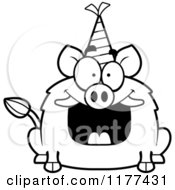 Cartoon Of A Black And White Happy Birthday Boar Wearing A Party Hat Royalty Free Vector Clipart