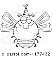 Cartoon Of A Black And White Drunk Birthday Dragonfly Wearing A Party Hat Royalty Free Vector Clipart