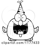 Cartoon Of A Black And White Happy Birthday Chick Wearing A Party Hat Royalty Free Vector Clipart