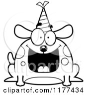 Cartoon Of A Black And White Happy Birthday Dog Wearing A Party Hat Royalty Free Vector Clipart