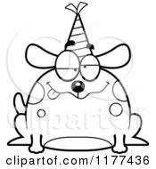 Cartoon Of A Black And White Drunk Birthday Dog Wearing A Party Hat Royalty Free Vector Clipart