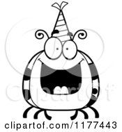 Cartoon Of A Black And White Happy Birthday Ladybug Wearing A Party Hat Royalty Free Vector Clipart