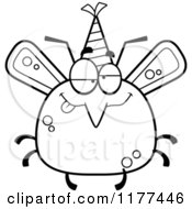 Cartoon Of A Black And White Drunk Birthday Mosquito Wearing A Party Hat Royalty Free Vector Clipart