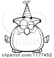 Cartoon Of A Black And White Drunk Birthday Owl Wearing A Party Hat Royalty Free Vector Clipart by Cory Thoman