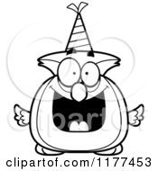 Cartoon Of A Black And White Happy Birthday Owl Wearing A Party Hat Royalty Free Vector Clipart by Cory Thoman
