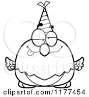 Cartoon Of A Black And White Drunk Birthday Parrot Wearing A Party Hat Royalty Free Vector Clipart