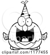 Cartoon Of A Black And White Happy Birthday Parrot Wearing A Party Hat Royalty Free Vector Clipart