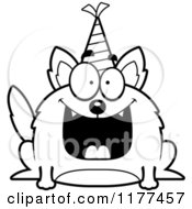 Cartoon Of A Black And White Happy Birthday Wolf Wearing A Party Hat Royalty Free Vector Clipart