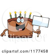 Cartoon Of A Happy Birthday Cake Mascot Holding A Sign Royalty Free Vector Clipart by Cory Thoman