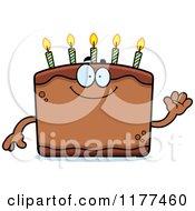 Cartoon Of A Waving Birthday Cake Mascot Royalty Free Vector Clipart by Cory Thoman