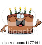Cartoon Of A Smart Birthday Cake Mascot With An Idea Royalty Free Vector Clipart by Cory Thoman
