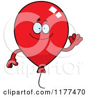 Cartoon Of A Waving Red Party Balloon Mascot Royalty Free Vector Clipart by Cory Thoman