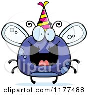 Cartoon Of A Happy Birthday Fly Wearing A Party Hat Royalty Free Vector Clipart