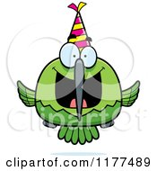 Cartoon Of A Happy Birthday Hummingbird Wearing A Party Hat Royalty Free Vector Clipart