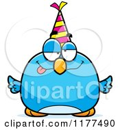 Cartoon Of A Drunk Birthday Bluebird Wearing A Party Hat Royalty Free Vector Clipart by Cory Thoman