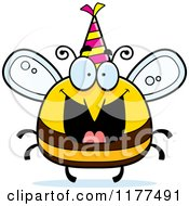 Cartoon Of A Happy Birthday Bee Wearing A Party Hat Royalty Free Vector Clipart