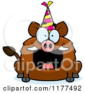Cartoon Of A Happy Birthday Boar Wearing A Party Hat Royalty Free Vector Clipart