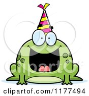 Cartoon Of A Happy Birthday Frog Wearing A Party Hat Royalty Free Vector Clipart by Cory Thoman