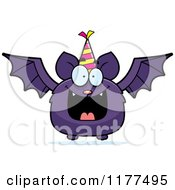 Cartoon Of A Happy Birthday Bat Wearing A Party Hat Royalty Free Vector Clipart by Cory Thoman