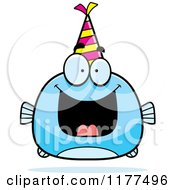 Cartoon Of A Happy Birthday Fish Wearing A Party Hat Royalty Free Vector Clipart