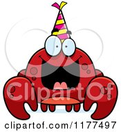 Cartoon Of A Happy Birthday Crab Wearing A Party Hat Royalty Free Vector Clipart by Cory Thoman
