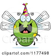 Cartoon Of A Happy Birthday Dragonfly Wearing A Party Hat Royalty Free Vector Clipart