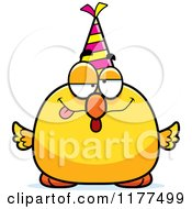 Cartoon Of A Drunk Birthday Chick Wearing A Party Hat Royalty Free Vector Clipart