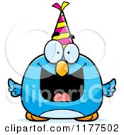 Cartoon Of A Happy Birthday Bluebird Wearing A Party Hat Royalty Free Vector Clipart by Cory Thoman